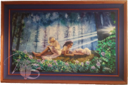 This large watercolor titled: A Summer's Day measures 6' x 4.5' in the beautiful cherry wood frame.