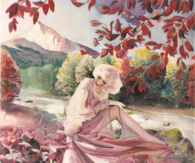 Jean Harlow by a Riverside with the Autumn Fall Leaves
