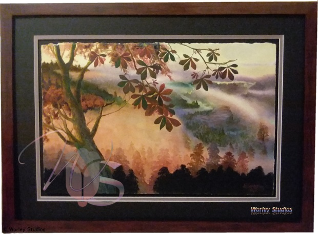 Original Watercolor Misty Morning Whimsical Mountain Landscape