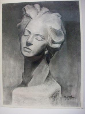 Female Head - Charcoal Pencil