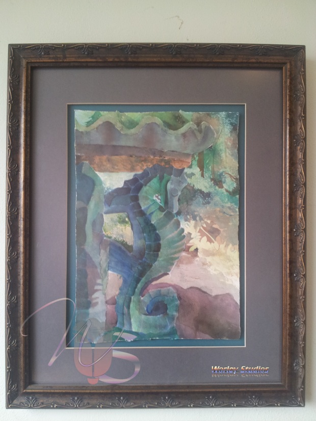 Seahorse Fountain Statue Original Watercolor Blue Green by: Samuel Worley