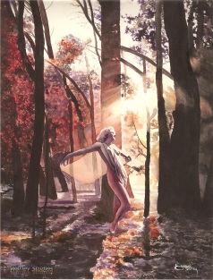 This beautiful watercolor is of Jean Harlow dancing in a sunlit forest in the Seasons of Autumn. Painting by Worley.