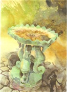 The Seahorse Fountain II - Original Watercolor