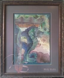 The Seahorse Fountain - Original Watercolor