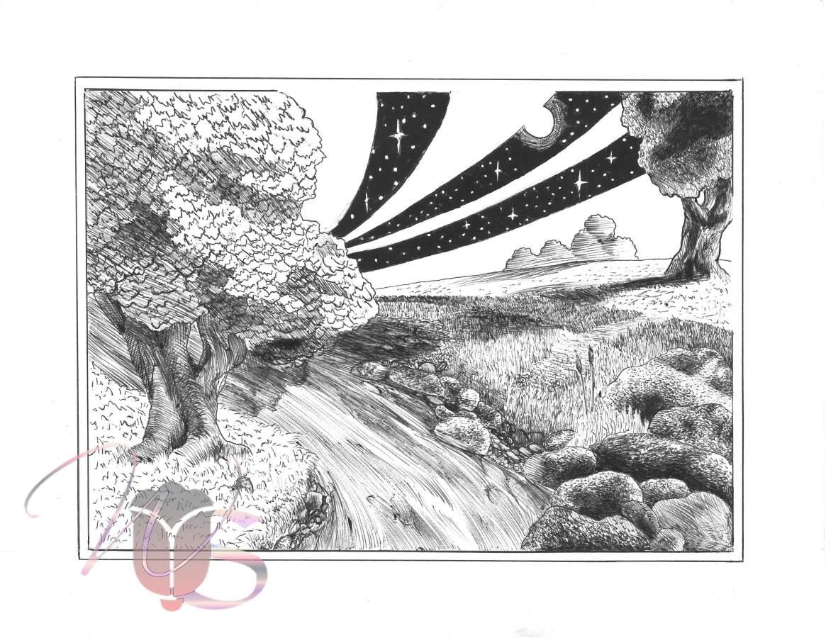 Night & Day – Original Pen & Ink WhimsicalLandscape