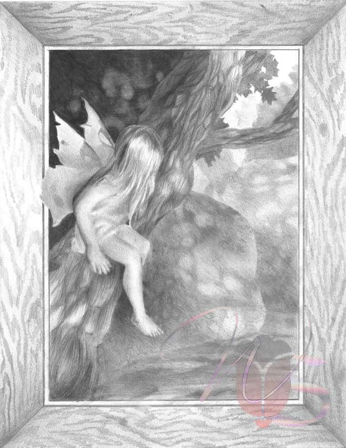 Perched Fairy – Original Charcoal Pencil