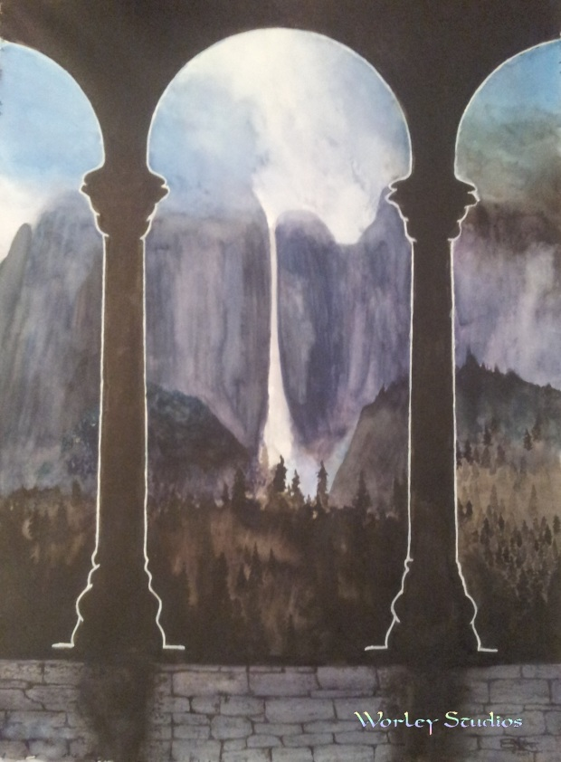 Shadow Mountains - WM Misty Mountain Watercolor by Worley