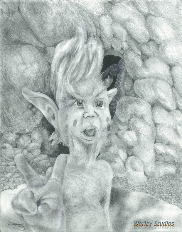 The Toll Troll charcoal pencil by Worley