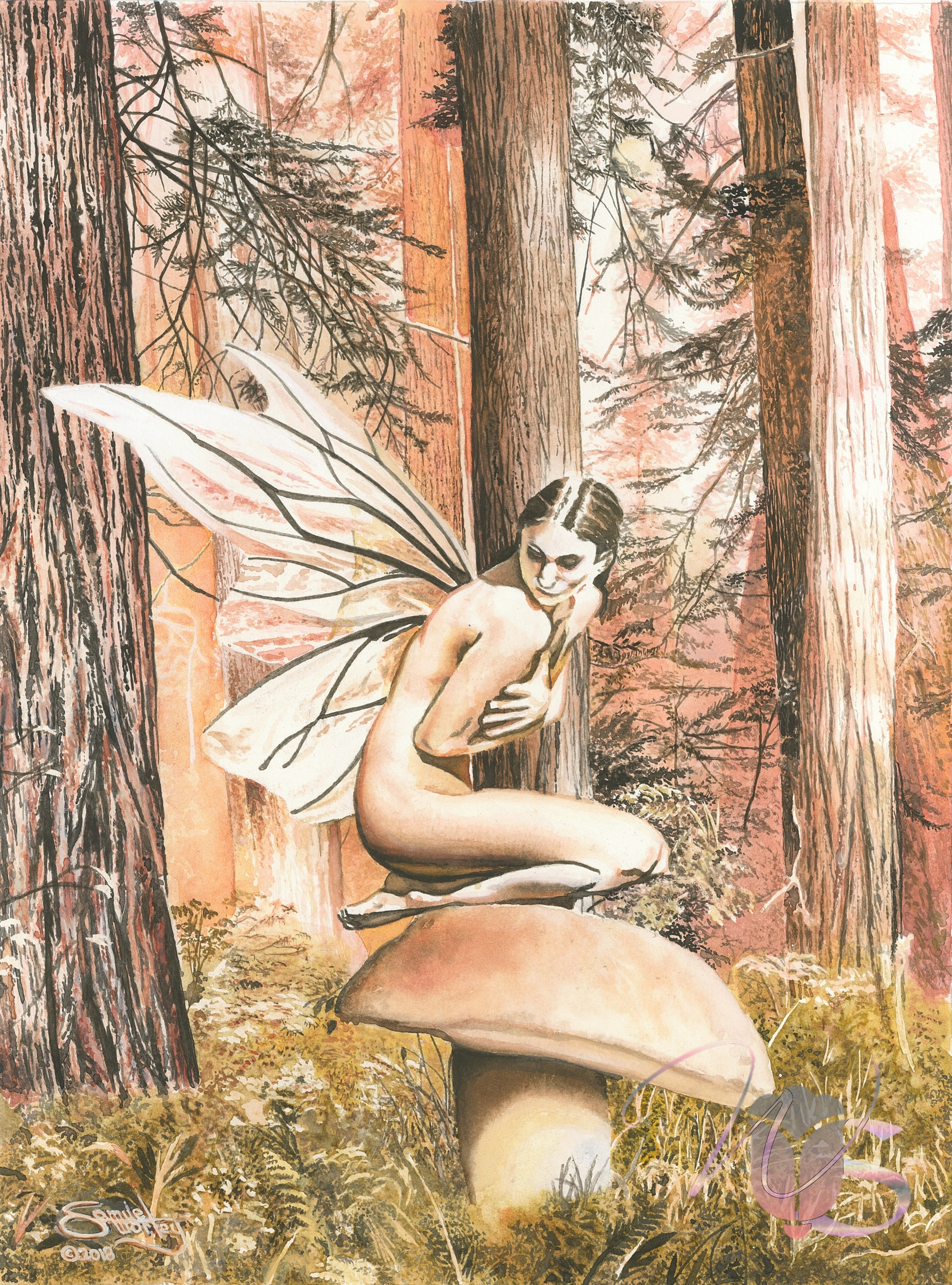 The Modest Fairy, an Original Watercolor by: Samuel Worley