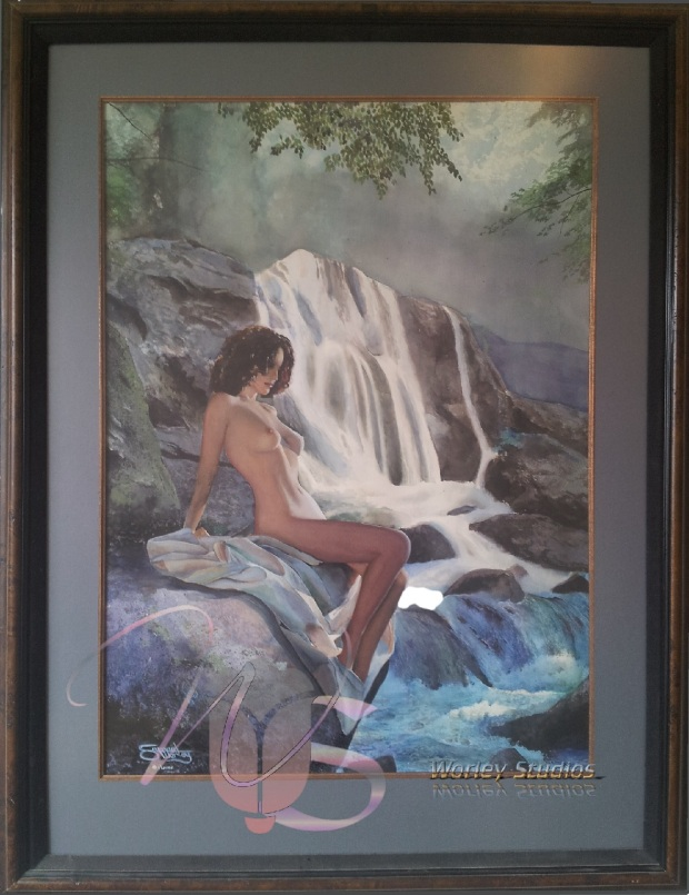 By the Falls a Framed Original Nude Watercolor Painting by Samuel Worley