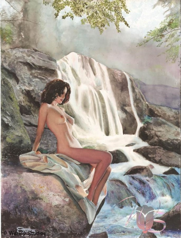By the Falls an Original Nude Watercolor Painting by Samuel Worley