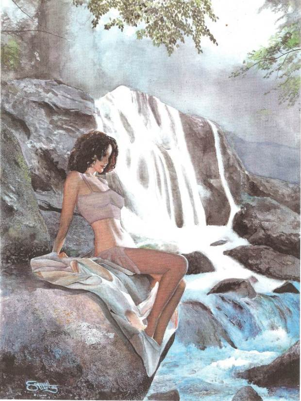 By the Falls Clothed Erotic Painting Woman-Optimized
