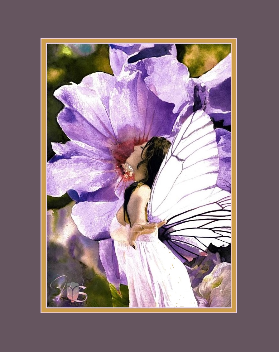 """Scented Fairy"" – Original Watercolor of a Faery & Purple Flower"